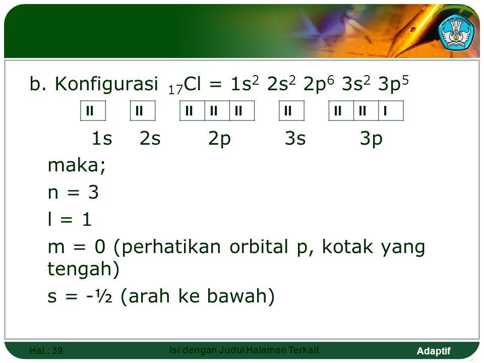 Adaptif JAWAB a.Konfigurasi 7 N = 1s 2 2s 2 2p 3 1s 2s2p Maka : n = 2 l = 1 (ingat, subkulit p dimana l=1) m = -1 (perhatikan orbital p, untuk kotak u