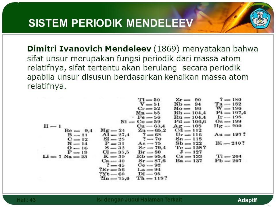 Adaptif  HUKUM OKTAF NEWLANDS Hal.: 42 Isi dengan Judul Halaman Terkait John Newlands (1864) mengelompokkan unsur berdasarkan kenaikan massa atom rel