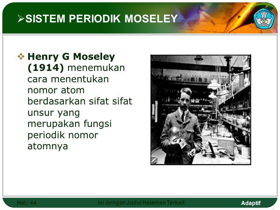 Adaptif  SISTEM PERIODIK MENDELEEV Hal.: 43 Isi dengan Judul Halaman Terkait Dimitri Ivanovich Mendeleev (1869) menyatakan bahwa sifat unsur merupaka