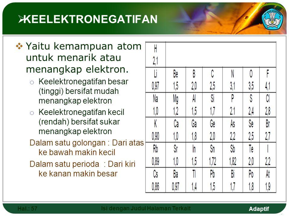 Adaptif  AFINITAS ELEKTRON  Yaitu energi yang dilepas atau diserap oleh atom yang netral dalam bentuk gas apabila terjadi penangkapan satu elektron