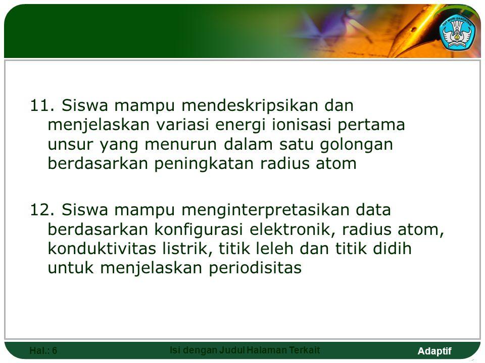 Adaptif 9. Siswa mampu mendeskripskan unsur periode ketiga, variasi konfigurasi elektronik, radius atom, konduktivitas listrik, titik leleh dan titik