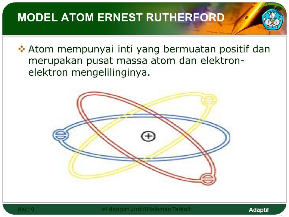 Adaptif MODEL ATOM JOSEPH JOHN THOMPSON  Model roti kismis dengan roti sebagai atom yang bermuatan positif dan kismis sebagai elektron yang tersebar
