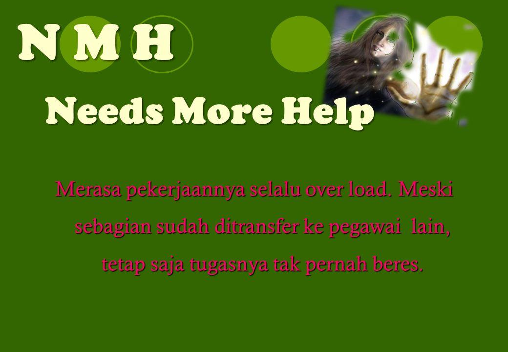 N M H Needs More Help Merasa pekerjaannya selalu over load. Meski sebagian sudah ditransfer ke pegawai lain, tetap saja tugasnya tak pernah beres.