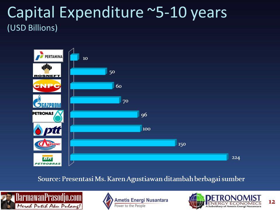12 Capital Expenditure ~5-10 years (USD Billions) Source: Presentasi Ms. Karen Agustiawan ditambah berbagai sumber