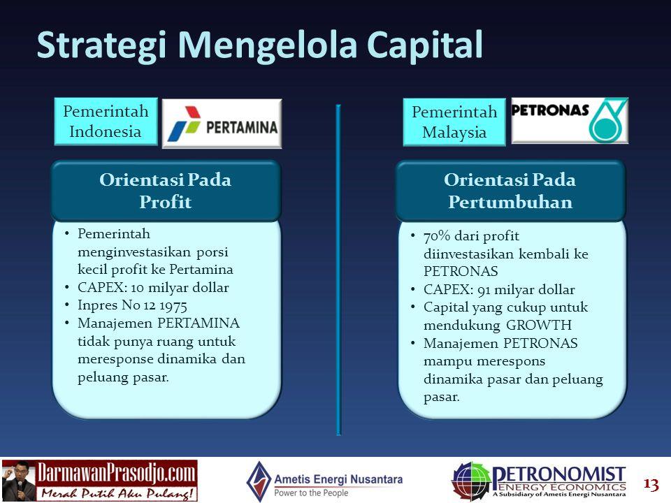 13 Strategi Mengelola Capital Orientasi Pada Pertumbuhan • 70% dari profit diinvestasikan kembali ke PETRONAS • CAPEX: 91 milyar dollar • Capital yang