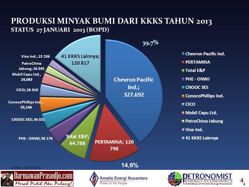 4 PRODUKSI MINYAK BUMI DARI KKKS TAHUN 2013 STATUS 27 JANUARI 2013 (BOPD) 4 39,7%