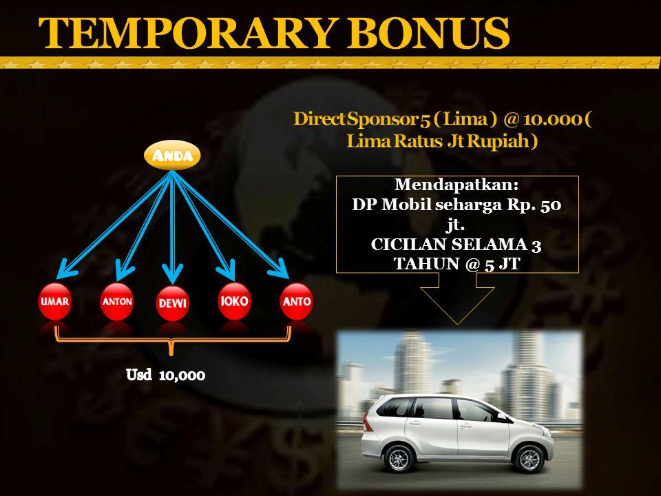 TEMPORARY BONUS Mendapatkan: DP Mobil seharga Rp.50 jt.