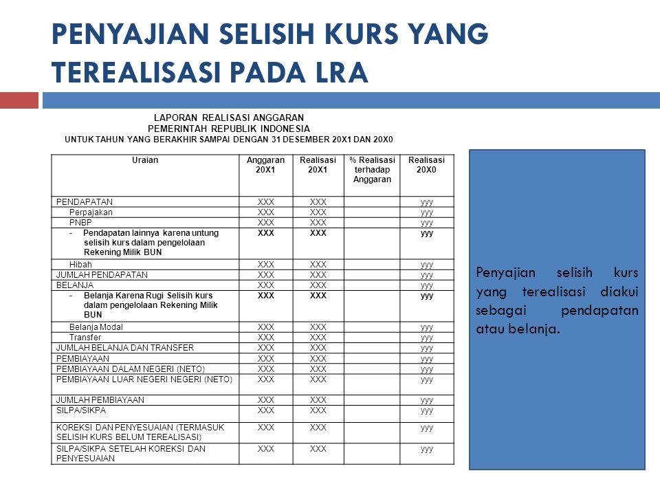 PENYAJIAN SELISIH KURS YANG TEREALISASI PADA LRA LAPORAN REALISASI ANGGARAN PEMERINTAH REPUBLIK INDONESIA UNTUK TAHUN YANG BERAKHIR SAMPAI DENGAN 31 DESEMBER 20X1 DAN 20X0 Penyajian selisih kurs yang terealisasi diakui sebagai pendapatan atau belanja.