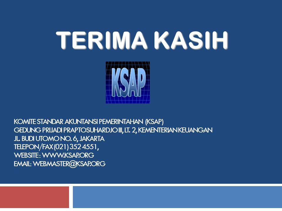 KOMITE STANDAR AKUNTANSI PEMERINTAHAN (KSAP) GEDUNG PRIJADI PRAPTOSUHARDJO III, LT. 2, KEMENTERIAN KEUANGAN JL. BUDI UTOMO NO. 6, JAKARTA TELEPON/FAX