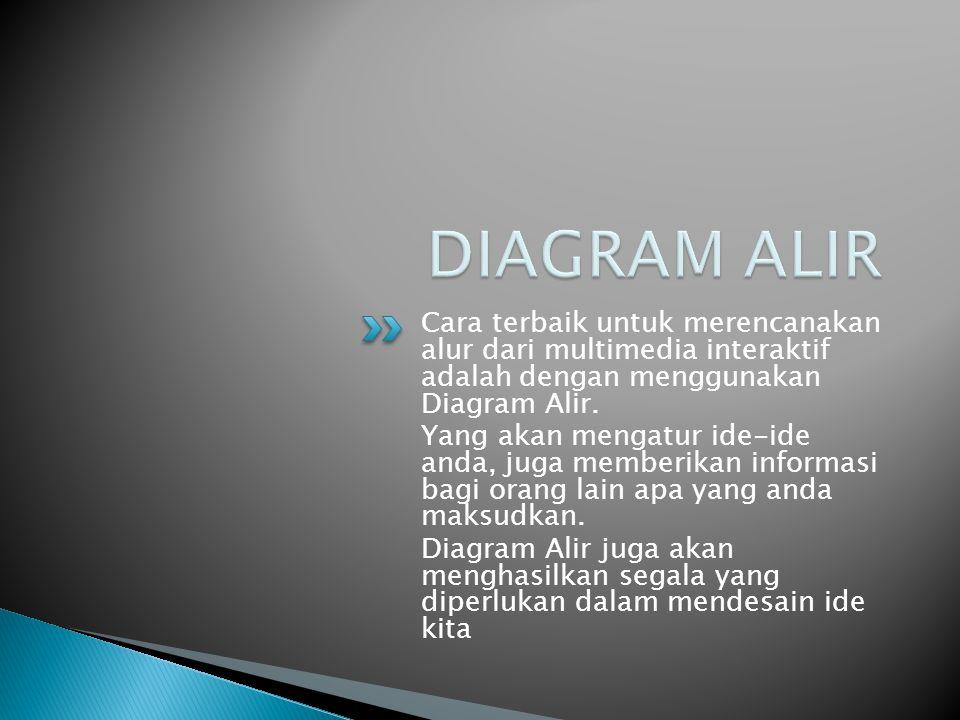 Cara terbaik untuk merencanakan alur dari multimedia interaktif adalah dengan menggunakan Diagram Alir. Yang akan mengatur ide-ide anda, juga memberik