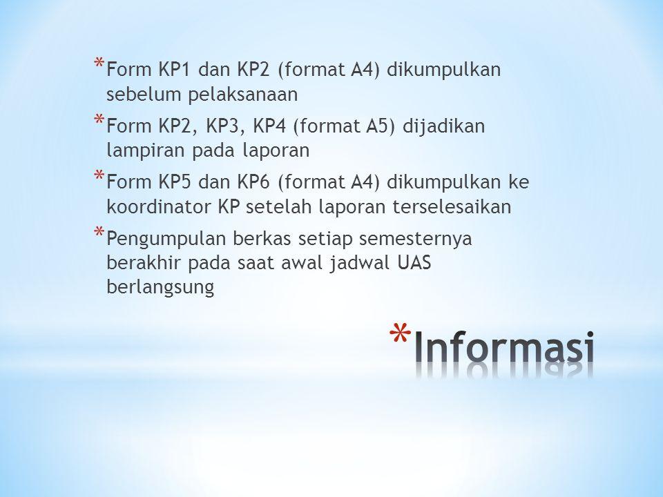 * Form KP1 dan KP2 (format A4) dikumpulkan sebelum pelaksanaan * Form KP2, KP3, KP4 (format A5) dijadikan lampiran pada laporan * Form KP5 dan KP6 (fo