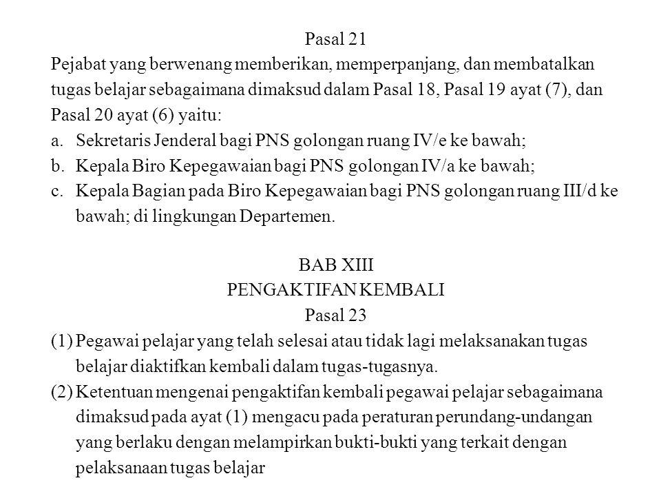 Pasal 21 Pejabat yang berwenang memberikan, memperpanjang, dan membatalkan tugas belajar sebagaimana dimaksud dalam Pasal 18, Pasal 19 ayat (7), dan P