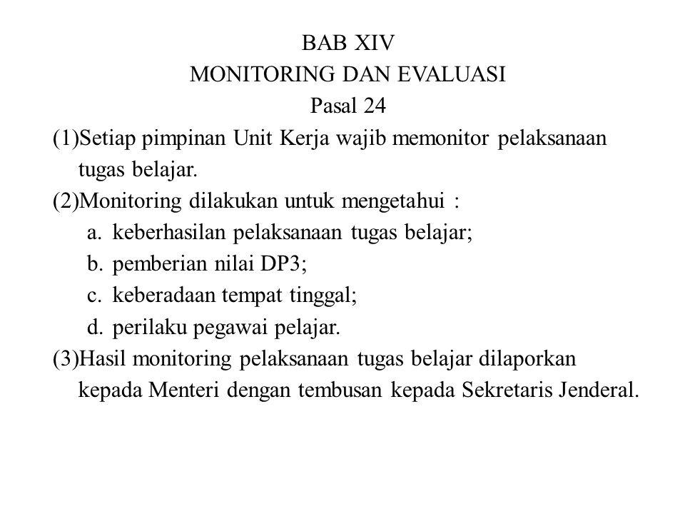 BAB XIV MONITORING DAN EVALUASI Pasal 24 (1)Setiap pimpinan Unit Kerja wajib memonitor pelaksanaan tugas belajar. (2)Monitoring dilakukan untuk menget