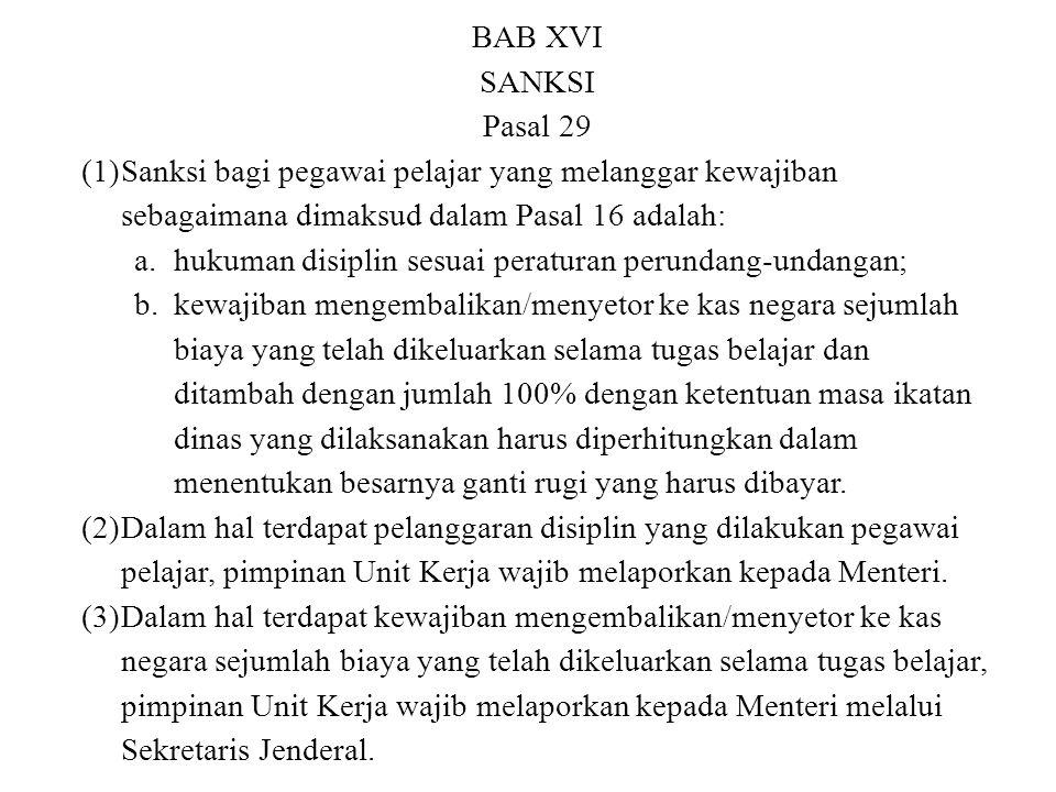 BAB XVI SANKSI Pasal 29 (1)Sanksi bagi pegawai pelajar yang melanggar kewajiban sebagaimana dimaksud dalam Pasal 16 adalah: a.hukuman disiplin sesuai
