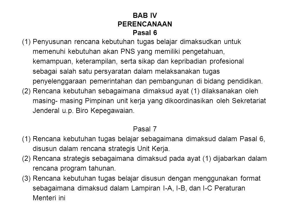 BAB IV PERENCANAAN Pasal 6 (1)Penyusunan rencana kebutuhan tugas belajar dimaksudkan untuk memenuhi kebutuhan akan PNS yang memiliki pengetahuan, kema