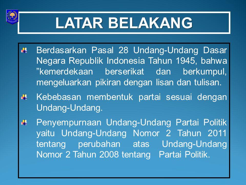 """LATAR BELAKANG Berdasarkan Pasal 28 Undang-Undang Dasar Negara Republik Indonesia Tahun 1945, bahwa """"kemerdekaan berserikat dan berkumpul, mengeluarka"""
