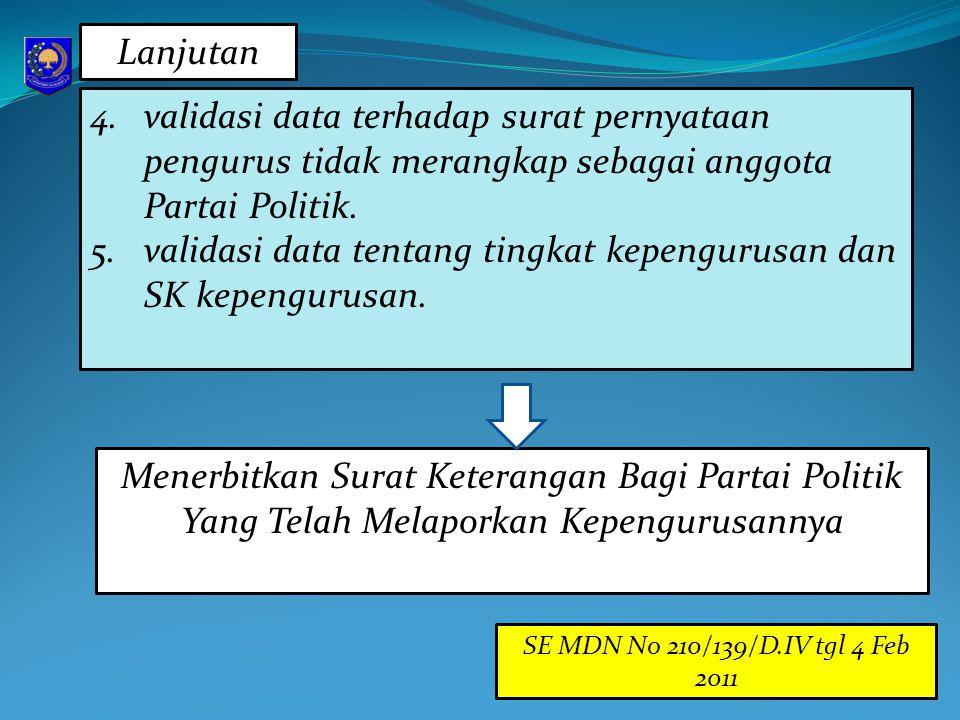 4.validasi data terhadap surat pernyataan pengurus tidak merangkap sebagai anggota Partai Politik. 5.validasi data tentang tingkat kepengurusan dan SK