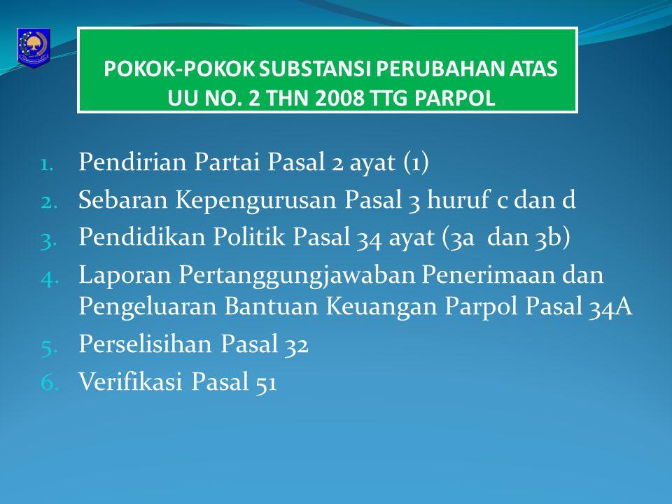 POKOK-POKOK SUBSTANSI PERUBAHAN ATAS UU NO. 2 THN 2008 TTG PARPOL 1. Pendirian Partai Pasal 2 ayat (1) 2. Sebaran Kepengurusan Pasal 3 huruf c dan d 3