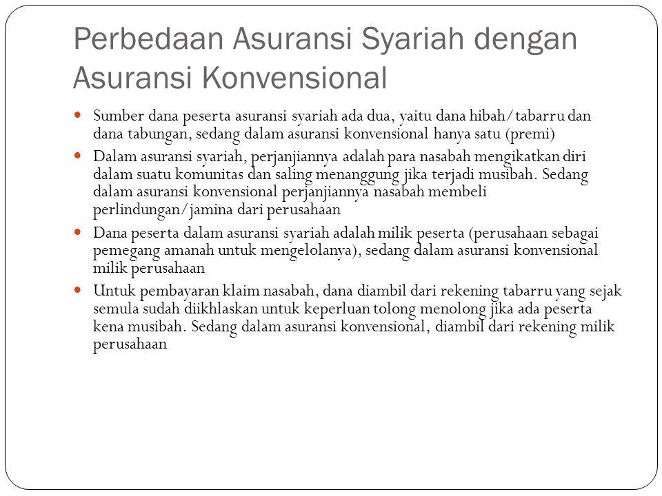 Perbedaan Asuransi Syariah dengan Asuransi Konvensional  Sumber dana peserta asuransi syariah ada dua, yaitu dana hibah/tabarru dan dana tabungan, se