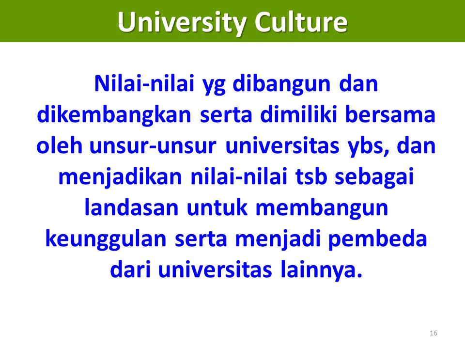 16 University Culture Nilai-nilai yg dibangun dan dikembangkan serta dimiliki bersama oleh unsur-unsur universitas ybs, dan menjadikan nilai-nilai tsb