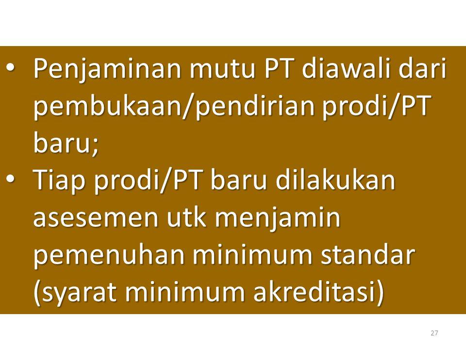 27 • Penjaminan mutu PT diawali dari pembukaan/pendirian prodi/PT baru; • Tiap prodi/PT baru dilakukan asesemen utk menjamin pemenuhan minimum standar