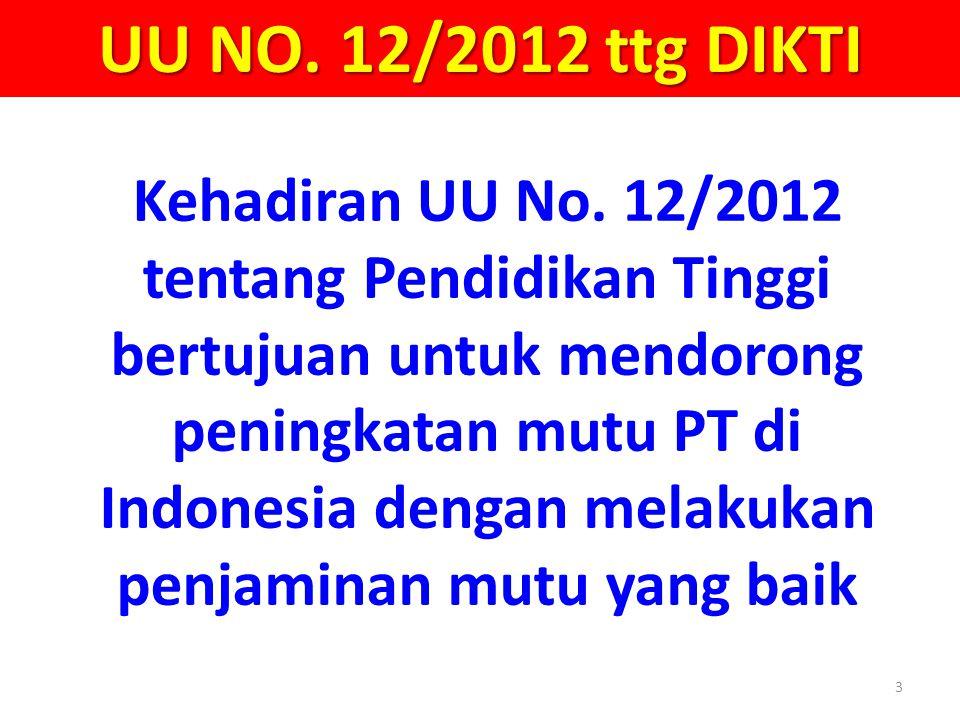 3 UU NO. 12/2012 ttg DIKTI Kehadiran UU No. 12/2012 tentang Pendidikan Tinggi bertujuan untuk mendorong peningkatan mutu PT di Indonesia dengan melaku