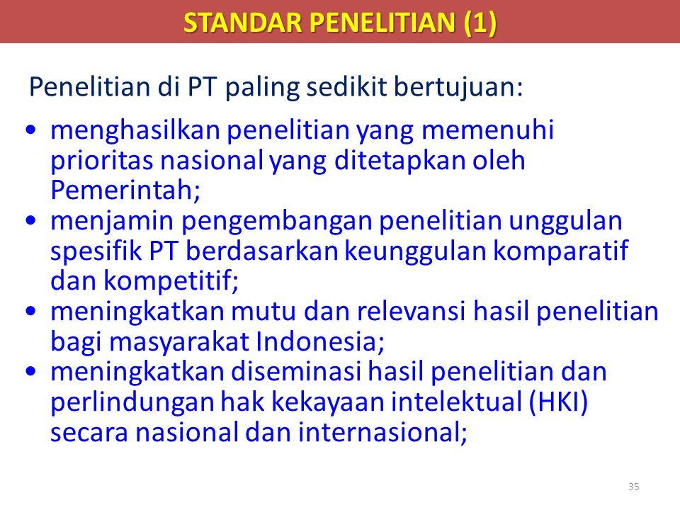 35 •menghasilkan penelitian yang memenuhi prioritas nasional yang ditetapkan oleh Pemerintah; •menjamin pengembangan penelitian unggulan spesifik PT b