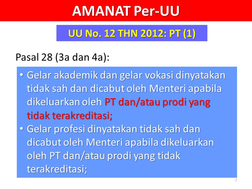 AMANAT Per-UU UU No. 12 THN 2012: PT (1) Pasal 28 (3a dan 4a): • Gelar akademik dan gelar vokasi dinyatakan tidak sah dan dicabut oleh Menteri apabila