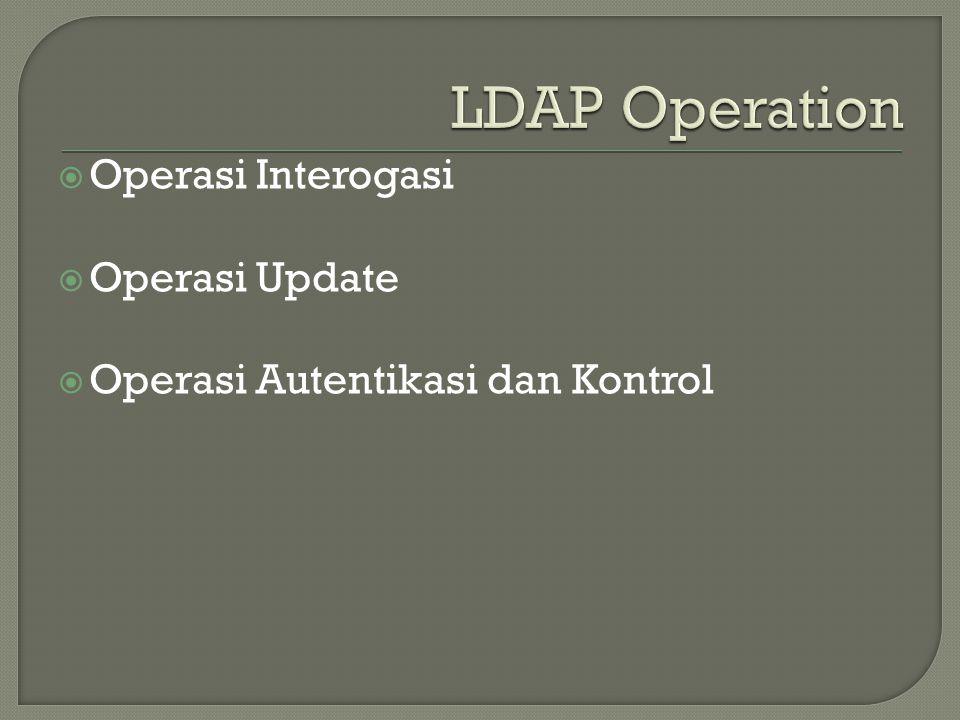  Operasi Interogasi  Operasi Update  Operasi Autentikasi dan Kontrol