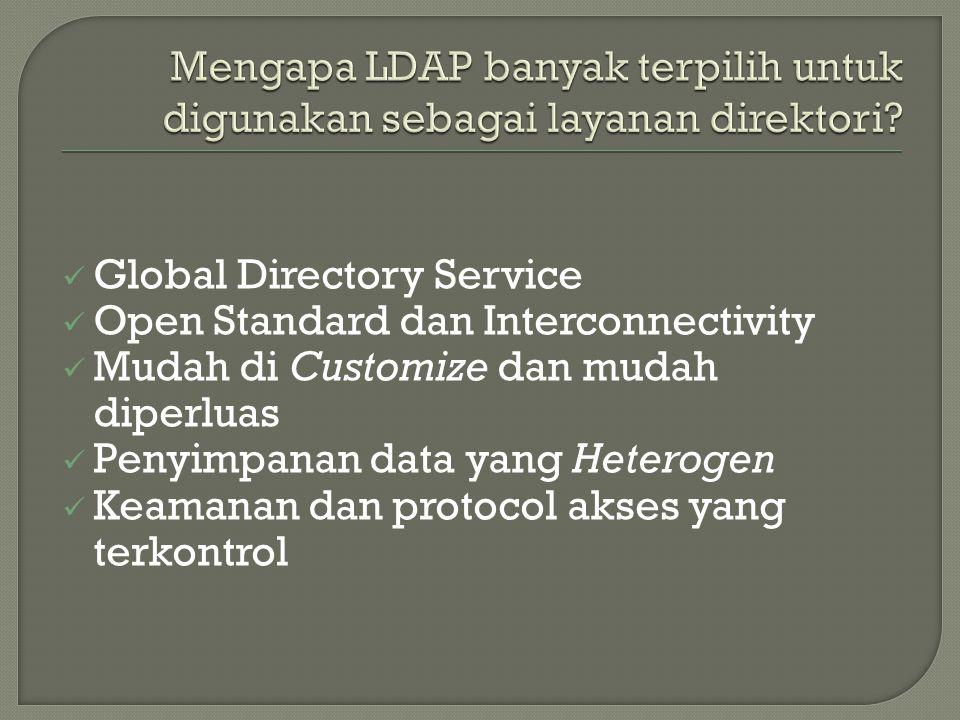  Global Directory Service  Open Standard dan Interconnectivity  Mudah di Customize dan mudah diperluas  Penyimpanan data yang Heterogen  Keamanan dan protocol akses yang terkontrol