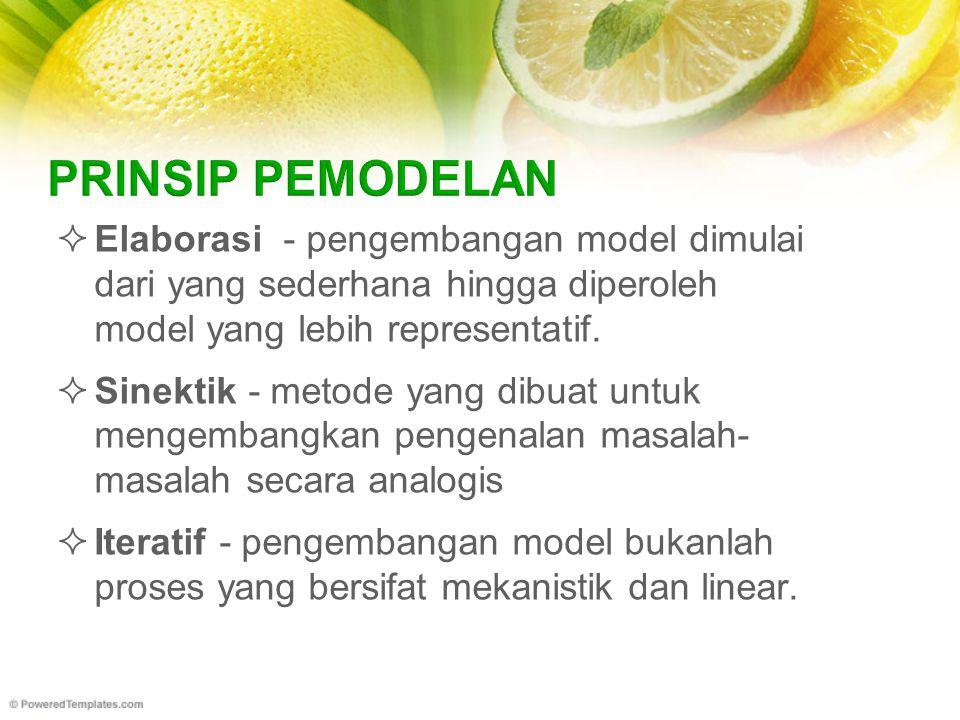  Elaborasi - pengembangan model dimulai dari yang sederhana hingga diperoleh model yang lebih representatif.
