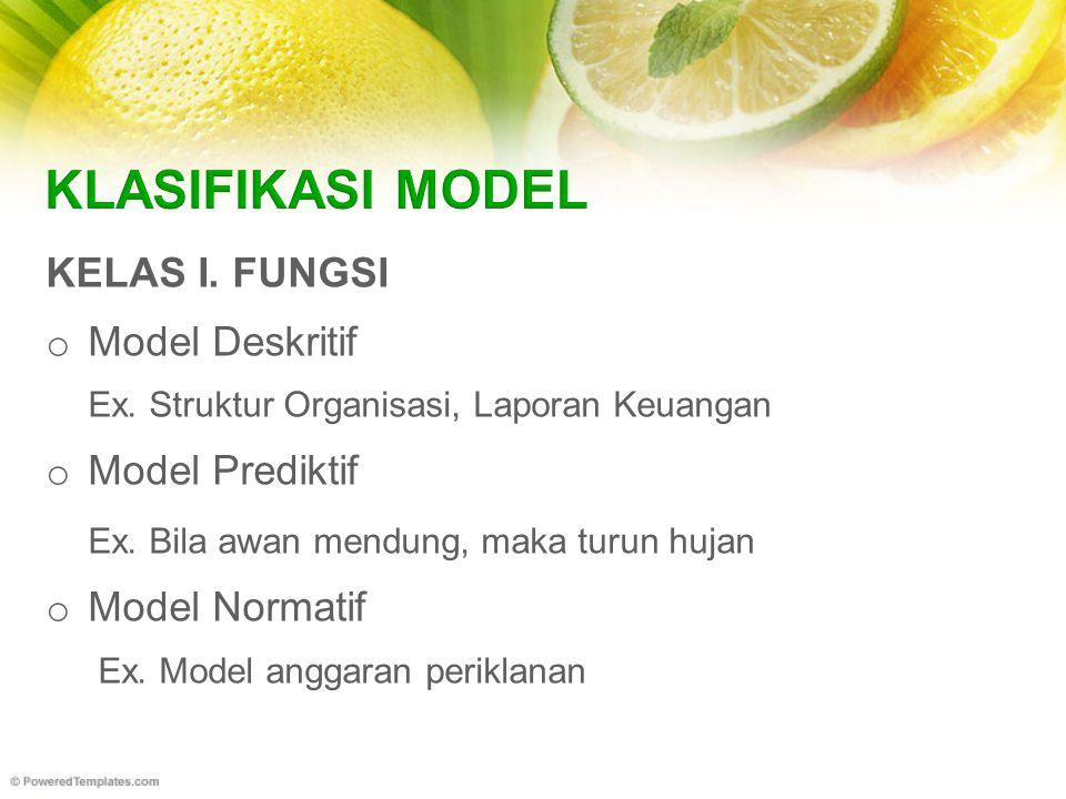 KELAS I. FUNGSI o Model Deskritif Ex. Struktur Organisasi, Laporan Keuangan o Model Prediktif Ex.