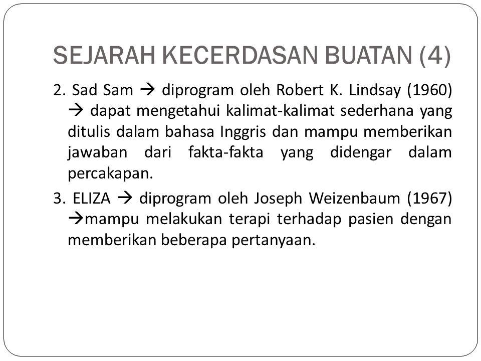 SEJARAH KECERDASAN BUATAN (4) 2. Sad Sam  diprogram oleh Robert K. Lindsay (1960)  dapat mengetahui kalimat-kalimat sederhana yang ditulis dalam bah
