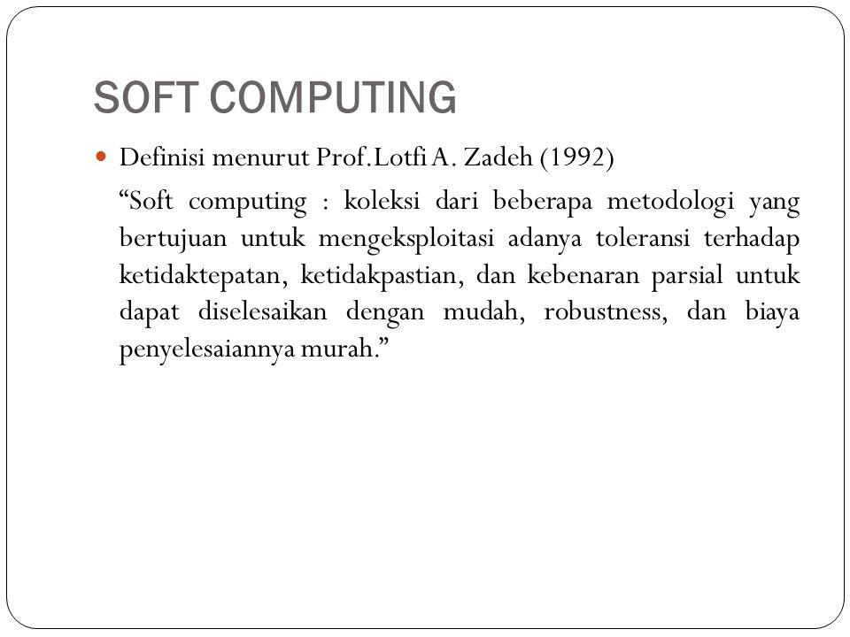 """SOFT COMPUTING  Definisi menurut Prof.Lotfi A. Zadeh (1992) """"Soft computing : koleksi dari beberapa metodologi yang bertujuan untuk mengeksploitasi a"""