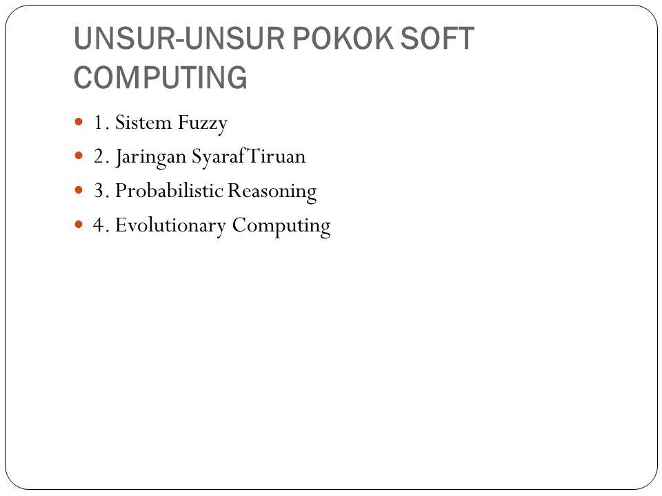 UNSUR-UNSUR POKOK SOFT COMPUTING  1. Sistem Fuzzy  2. Jaringan Syaraf Tiruan  3. Probabilistic Reasoning  4. Evolutionary Computing
