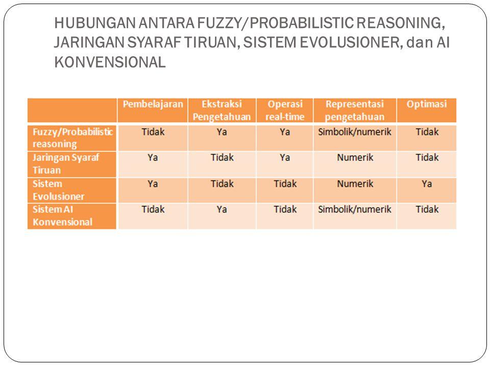 HUBUNGAN ANTARA FUZZY/PROBABILISTIC REASONING, JARINGAN SYARAF TIRUAN, SISTEM EVOLUSIONER, dan AI KONVENSIONAL