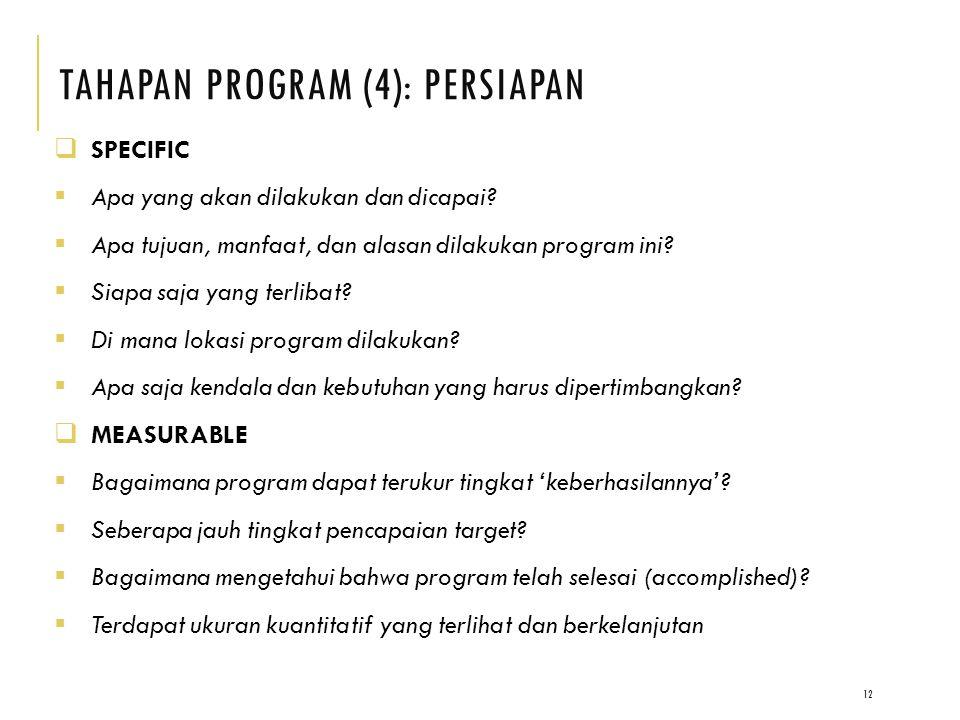 TAHAPAN PROGRAM (4): PERSIAPAN 12  SPECIFIC  Apa yang akan dilakukan dan dicapai.