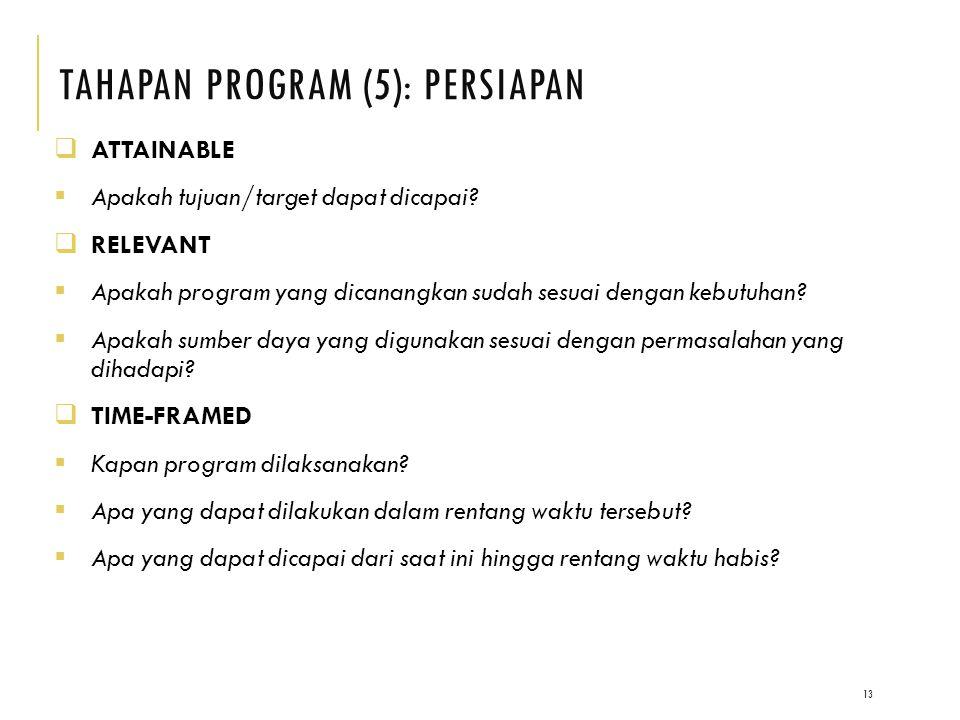 TAHAPAN PROGRAM (5): PERSIAPAN 13  ATTAINABLE  Apakah tujuan/target dapat dicapai.
