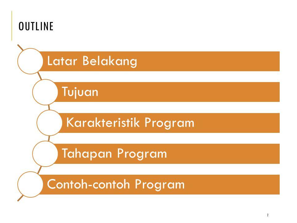 OUTLINE Latar Belakang Tujuan Karakteristik Program Tahapan Program Contoh-contoh Program 2
