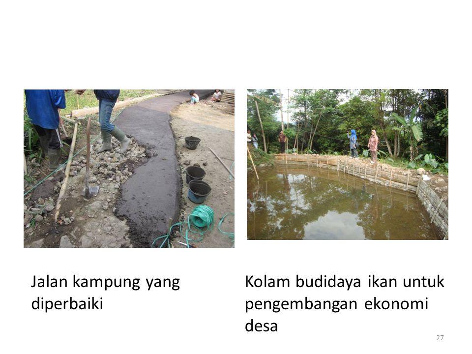 Kolam budidaya ikan untuk pengembangan ekonomi desa Jalan kampung yang diperbaiki 27