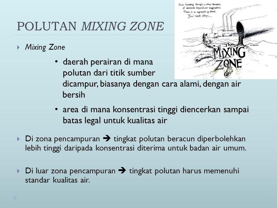 POLUTAN MIXING ZONE  Mixing Zone  Di zona pencampuran  tingkat polutan beracun diperbolehkan lebih tinggi daripada konsentrasi diterima untuk badan air umum.