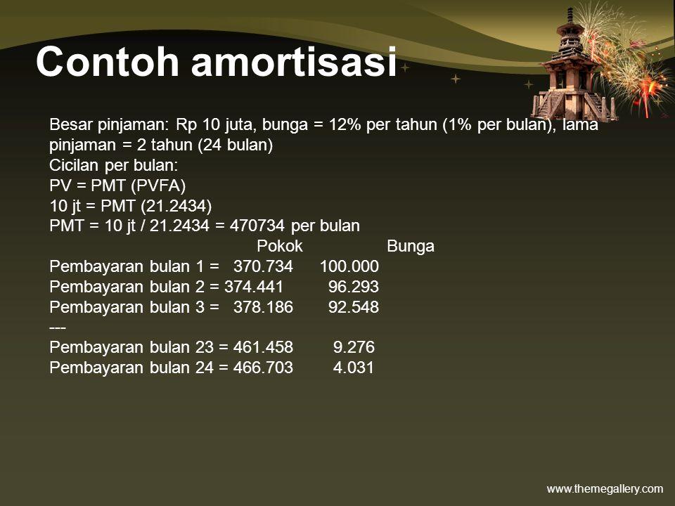 www.themegallery.com Contoh amortisasi Besar pinjaman: Rp 10 juta, bunga = 12% per tahun (1% per bulan), lama pinjaman = 2 tahun (24 bulan) Cicilan pe