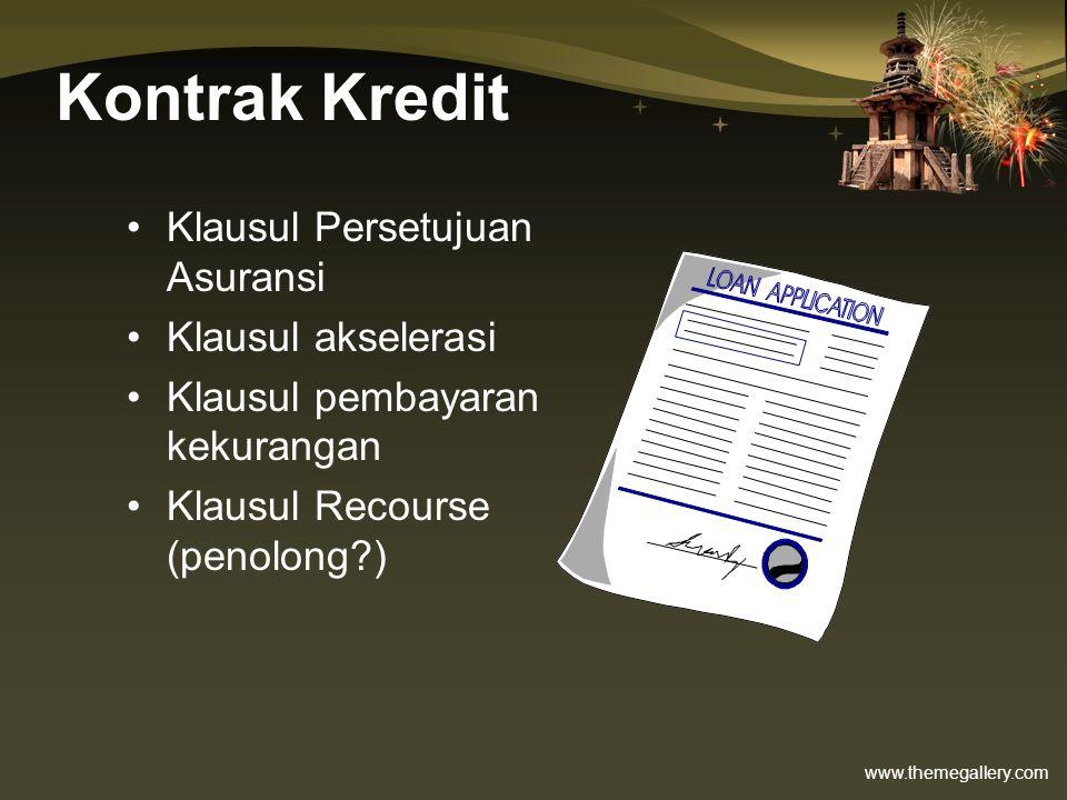 www.themegallery.com Kontrak Kredit •Klausul Persetujuan Asuransi •Klausul akselerasi •Klausul pembayaran kekurangan •Klausul Recourse (penolong?)