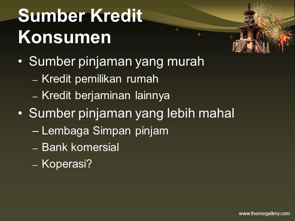 www.themegallery.com Sumber Kredit Konsumen •Sumber pinjaman yang murah – Kredit pemilikan rumah – Kredit berjaminan lainnya •Sumber pinjaman yang leb