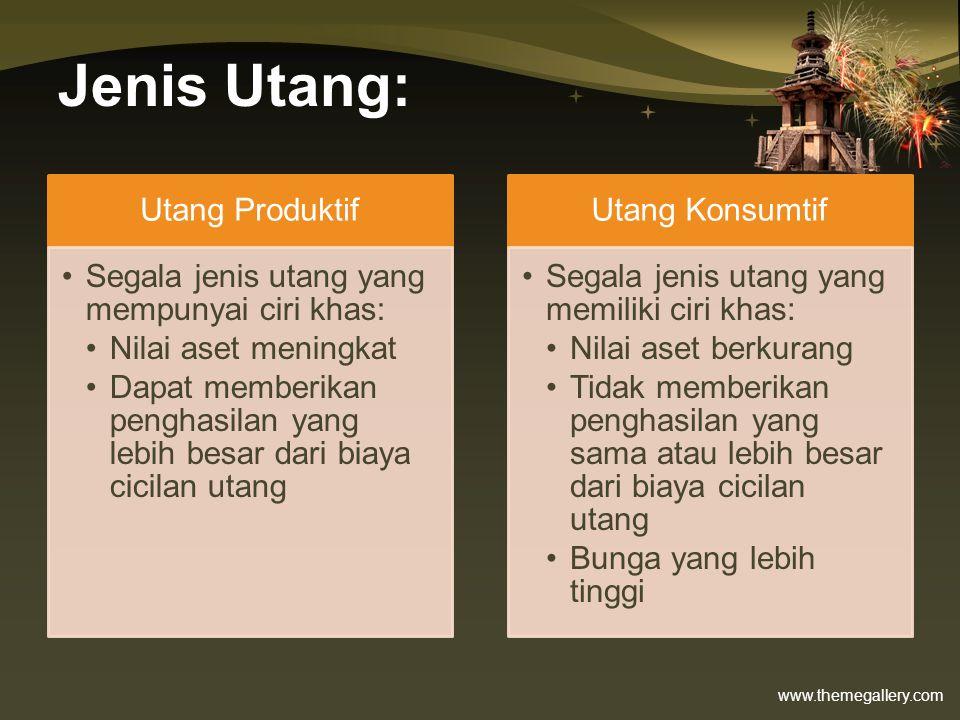www.themegallery.com Kredit Pemilikan Rumah (KPR) •Pada dasarnya mortgage (hipotik) •Menggunakan kepemilikan rumah untuk menjamin pinjaman •Biasanya memungkinkan kita untuk pinjam sampai 80% dari nilai jual rumah