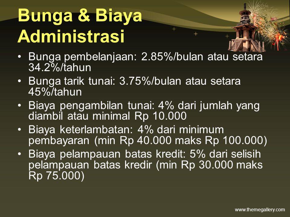 www.themegallery.com Bunga & Biaya Administrasi •Bunga pembelanjaan: 2.85%/bulan atau setara 34.2%/tahun •Bunga tarik tunai: 3.75%/bulan atau setara 4