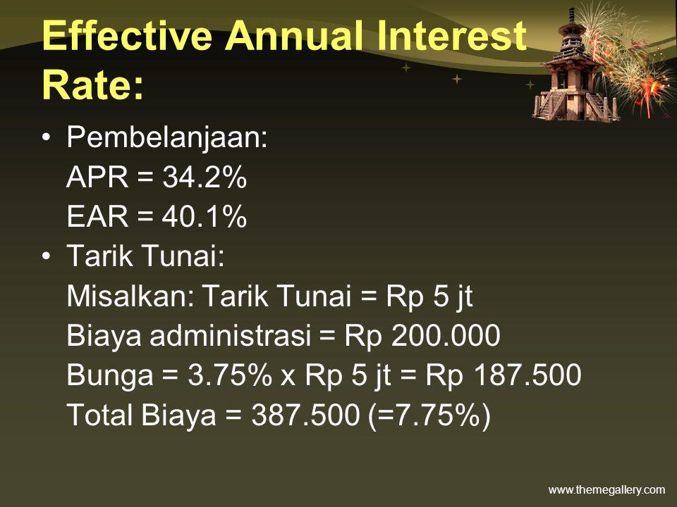 www.themegallery.com Effective Annual Interest Rate: •Pembelanjaan: APR = 34.2% EAR = 40.1% •Tarik Tunai: Misalkan: Tarik Tunai = Rp 5 jt Biaya admini
