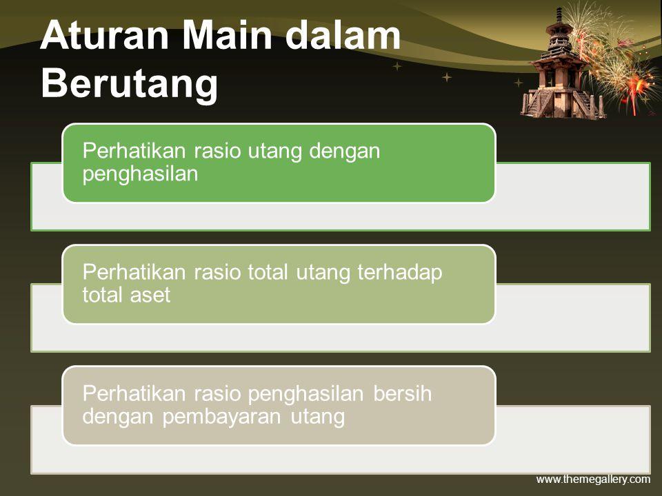 www.themegallery.com Menghitung Bunga Pinjaman: •Tingkat Suku Bunga Utang: –Effective Annual Rate (EAR) –Annual Percentage Rate (APR) Contoh: Sebuah perusahaan Leasing XX menawarkan Kredit mobil dengan APR = 18%.