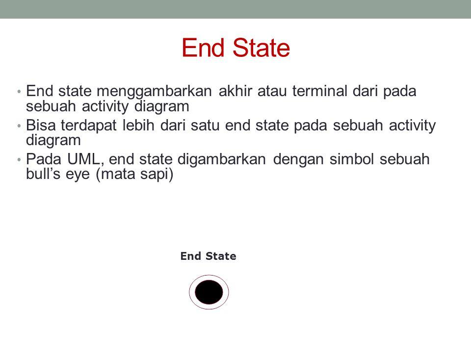 End State • End state menggambarkan akhir atau terminal dari pada sebuah activity diagram • Bisa terdapat lebih dari satu end state pada sebuah activi