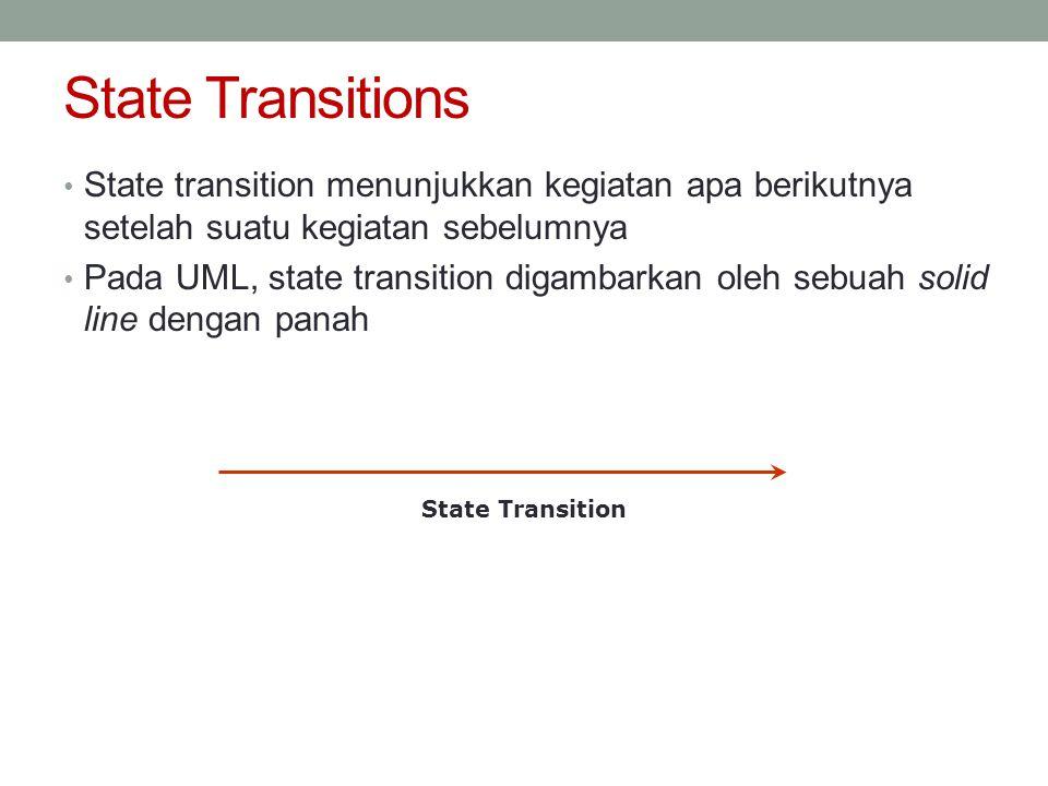 State Transitions • State transition menunjukkan kegiatan apa berikutnya setelah suatu kegiatan sebelumnya • Pada UML, state transition digambarkan ol